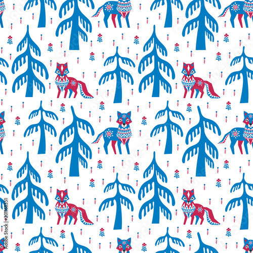 Fototapeta Decorative seamless pattern in ethnic style with fox and wolf. Colorful vector background.