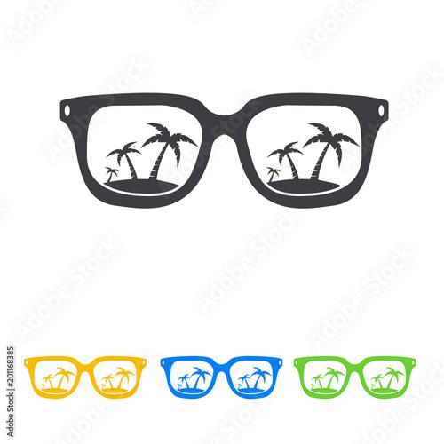 Icono plano gafas con playa en varios colores