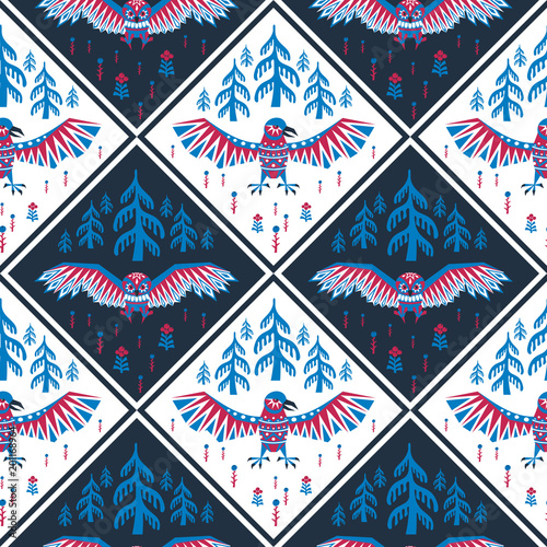 Decorative seamless pattern in ethnic style with raven and owl. Colorful vector background.