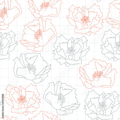 Big poppies flowers . Floral vector seamless pattern with hand drawn flowers and abstract geometric background.
