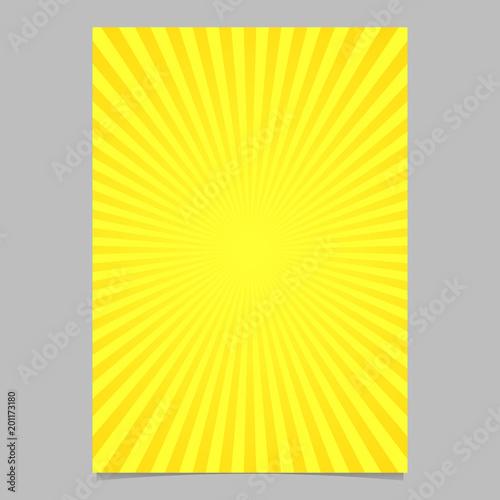 Abstrakcjonistyczny retro słońce wybuchu okładkowy szablon - wektorowy dokumentu tła projekt od promieniowych lampasów