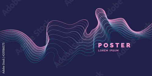 Vector abstract background with a colored dynamic waves, line and particles.