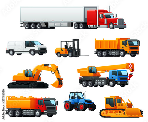 Fridge magnet Road transport, heavy machinery and vehicle icon
