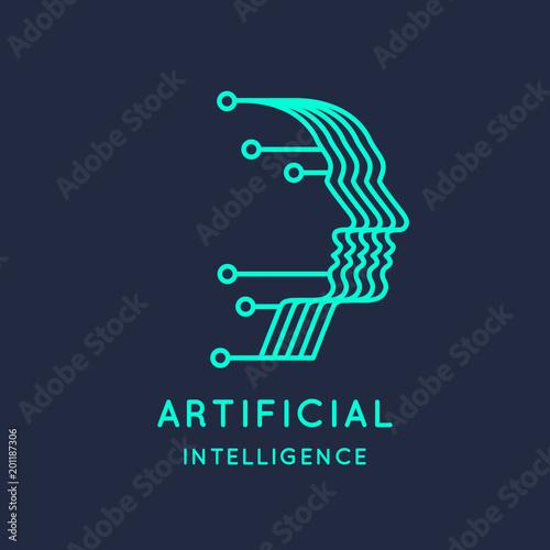 Sieci neuronowe, znak koncepcyjny i logo. System analityczny.