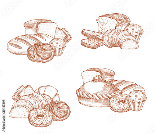 Bread and bakery or pastry vector sketch