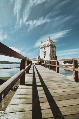 Wide angle view of The Belem Tower - Old defense tower on the Tagus River - Lisbon Portugal