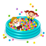Children playing with colorful balls in ball pool