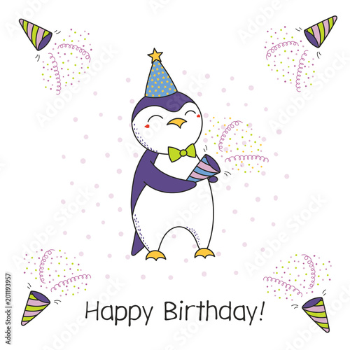 Hand Drawn Happy Birthday Greeting Card With Cute Funny Cartoon
