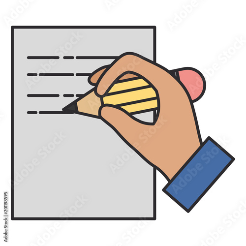 hand writing with pencil in paper vector illustration design