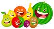 cartoon fruit characters group