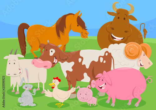 Fototapeta cute farm animal characters group