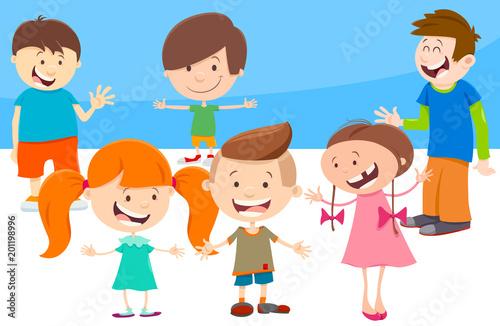cartoon kids comic characters group - 201198996