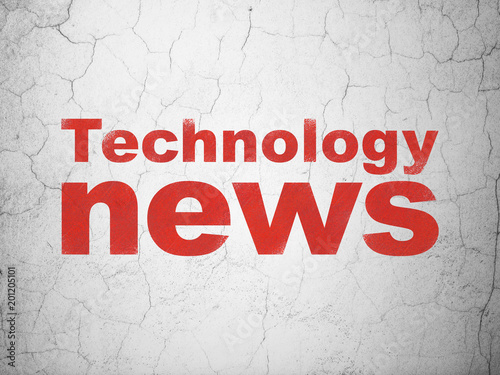 News concept: Red Technology News on textured concrete wall background