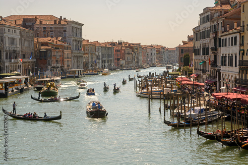 Grand Canal in Venice with numerous gondolas and boats - 201206367