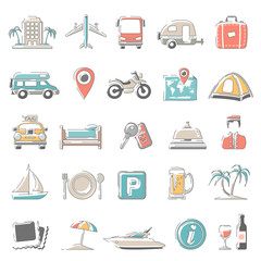 Outline Color Icons - Travel