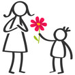 Simple stick figures family, boy giving flower to mother on Mother's Day, birthday isolated on white background