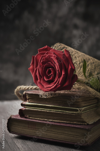 red rose and books