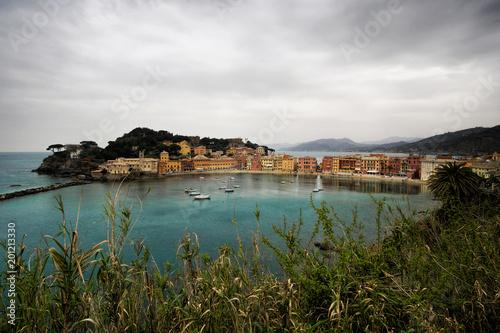 In de dag Liguria The Bay of Silence, Sestri Levante, Liguria, Italy. Out of season.