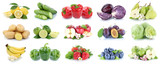 Fruits and vegetables collection isolated apples strawberries lemons colors fruit