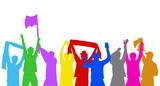 Jubelnde bunte Fans - 201213714