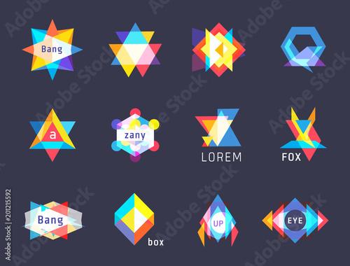trendy logos geometric opacity shapes vector set - 201215592