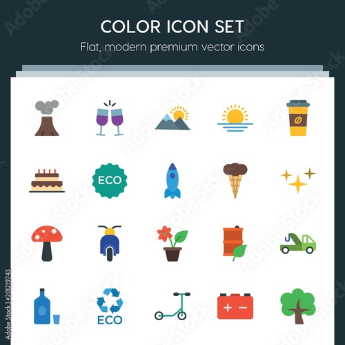 Aluminium Wit Modern Simple Set of transports, food, nature, drinks Vector flat Icons. ..Contains such Icons as party, car, toast, tree, travel, bike and more on dark background. Fully Editable. Pixel Perfect