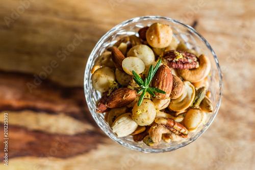 A crystal bowl of mixed nuts