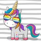 Cute unicorn with sun glasses - 201226710