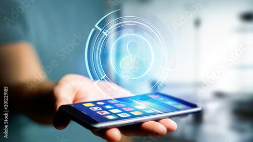 Biznesmen używa smartphone z Shinny technologicznym sieć kontaktu guzikiem - 3d odpłacają się