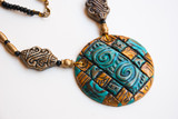Egyptian gold turquoise necklace. Egypt fashion handmade jewellery.