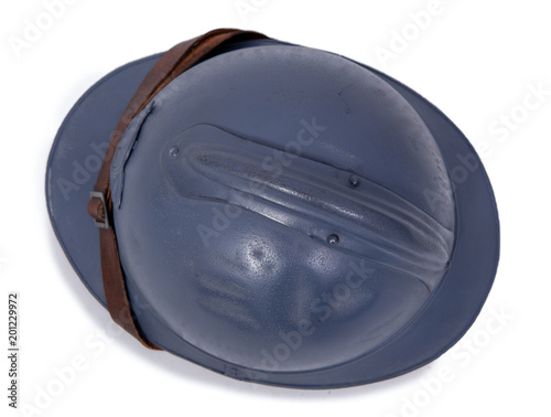 Foto Murales top view of french military helmet of the First World War on white