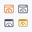 Speedometer In Window - Outline & Glyph Icons. A set of 4 professional, pixel-perfect icons.