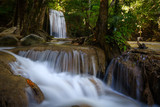 The beauty of limestone waterfall is popular with tourists. And famous of Thailand. In Erawan Waterfall National Park Kanchanaburi