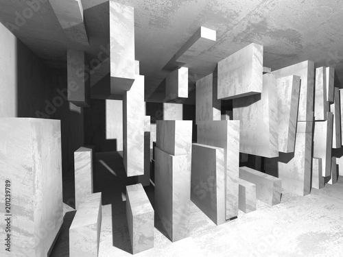 Tło architektury betonowej. Streszczenie pusty pokój ciemny