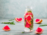 infused detox water with grapefruit and rosemary - 201243714