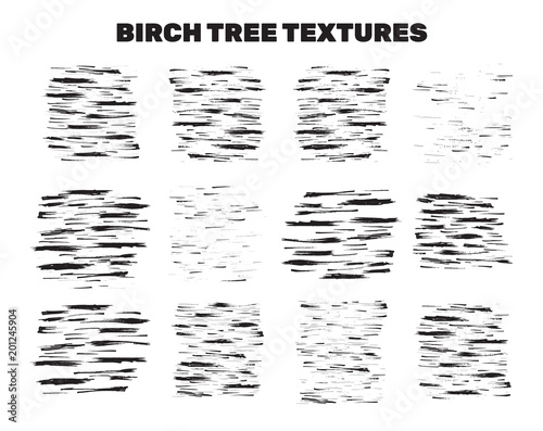 Birch Tree Bark Stains, Material Collection. Textures from artistic brush strokes. Abstract Nature Design for Wallpaper or T-shirt Prints. Vector Set - 201245904