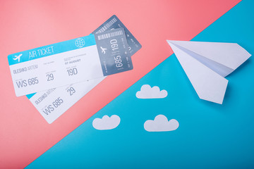 Air tickets and paper plane on pastel background, topview. Concept of air travel and holidays