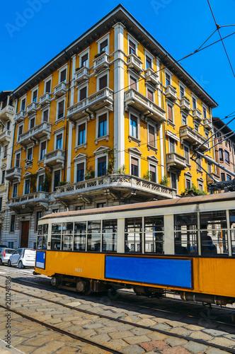 Fotobehang Milan Vintage 1930s style Milan, Italy tram