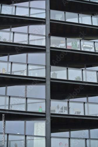 facade detail of modern building with balconies,