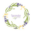 Violet Lavender beautiful floral frames template in watercolor style isolated on white background for decorative design, wedding card, invitation, travel flayer