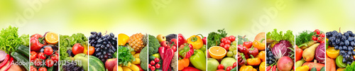 Panoramic collage vegetables and fruits on green background.