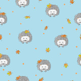 Seamless pattern with cute watercolor hedgehogs and autumn leaves. Vector kids background.