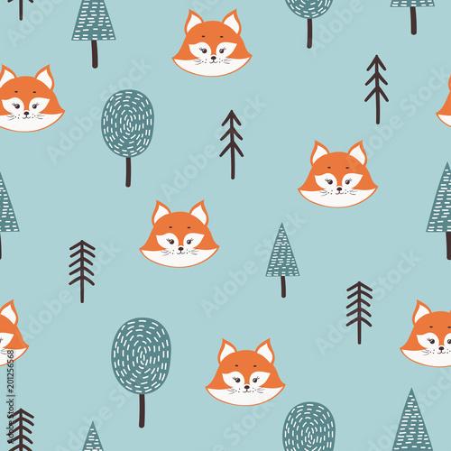Materiał do szycia Wzór z cute fox drzew streszczenie nd. Dziecinna tle lasu.