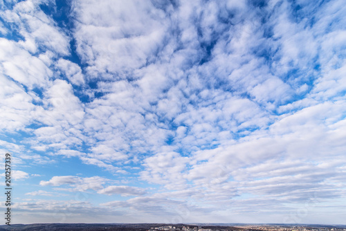 cityscape view. cloudy day. city horizon line with clouds. copy space.
