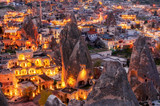 night view of Goreme, Cappadocia, Turkey. A world-famous tourist center of balloon flight