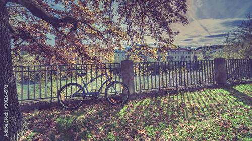 Fotobehang Aubergine Bicycle Light Shadow