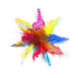 Abstract colored powder explosion on white background - 201267301