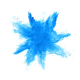 Abstract blue powder explosion on white background - 201267323