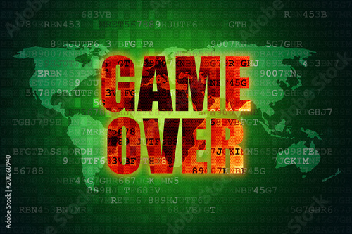 Illustration of pixel red game over screen on green digital world illustration of pixel red game over screen on green digital world map background gumiabroncs Choice Image