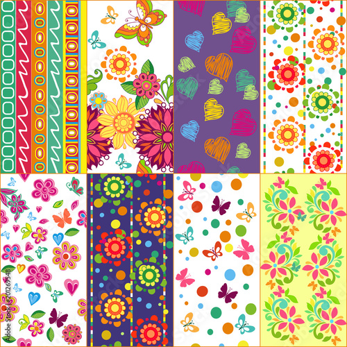 set of summer floral patterns with butterflies and hearts. Seamless colorful backgrounds. Decorative ornament for fabric, textile, wrapping paper. - 201269548